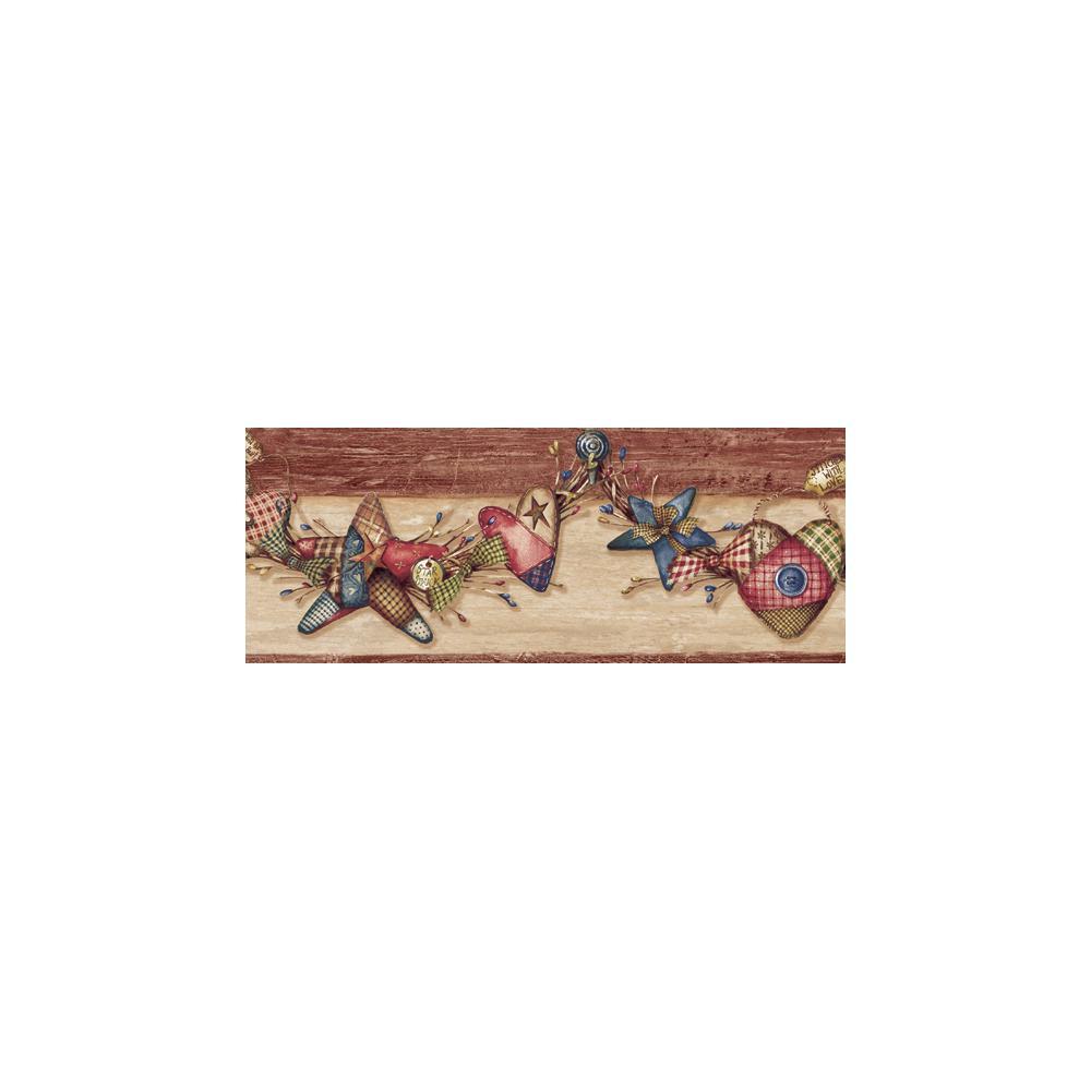 Gertrude Red Homespun Swag Trail Red Wallpaper Border