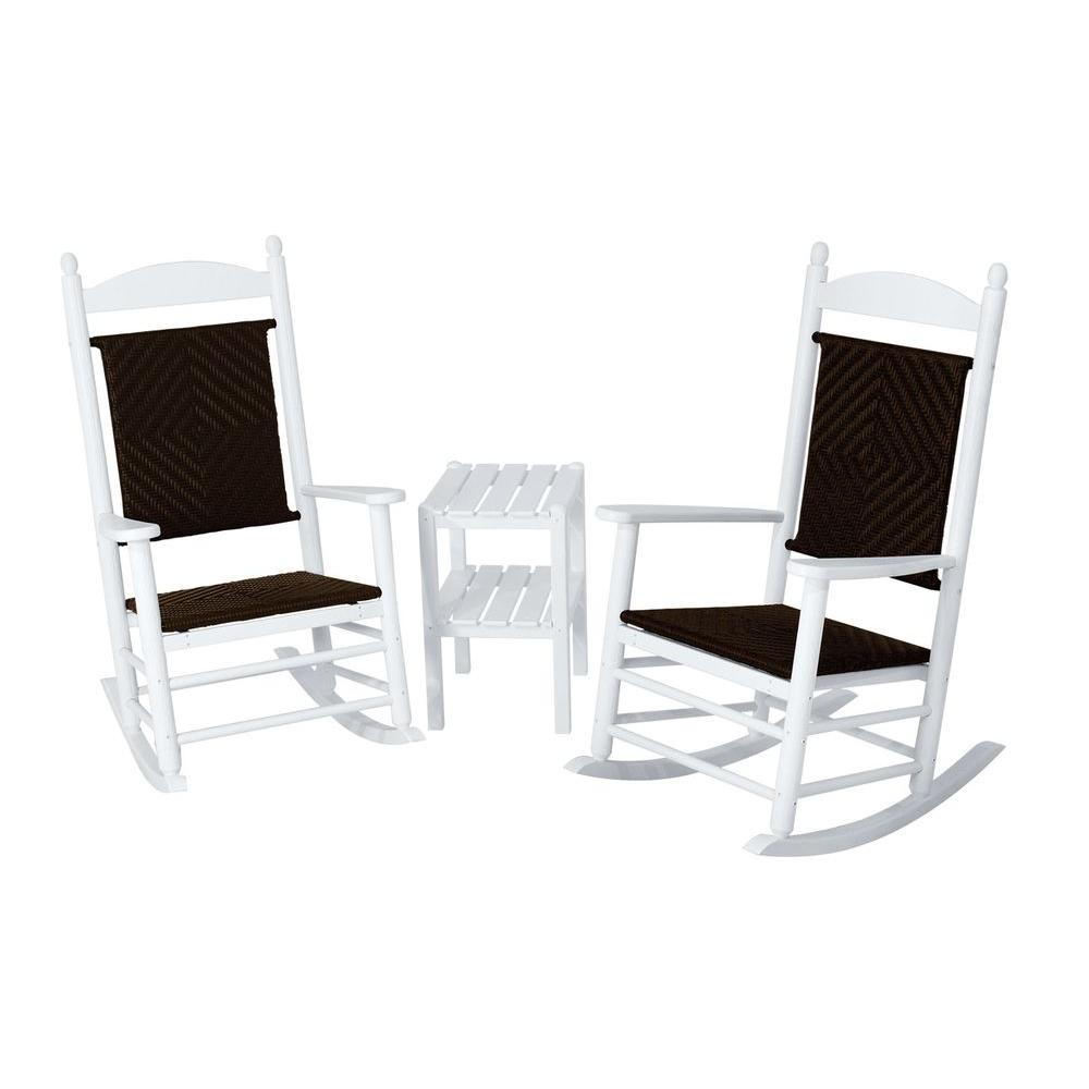 Jefferson White 3-Piece Woven Patio Rocker Set with Cahaba Weave