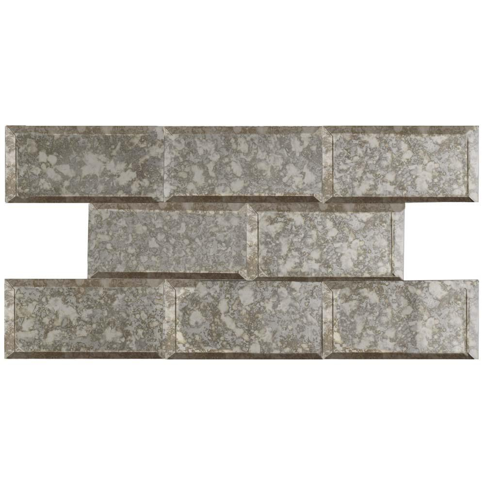 Merola Tile Re Beveled Antique Mirror 3 In X 6 Glass Wall