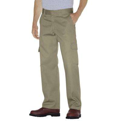 Men 32 in. x 32 in. Relaxed Fit Desert Sand Straight Leg Cargo Work Pant
