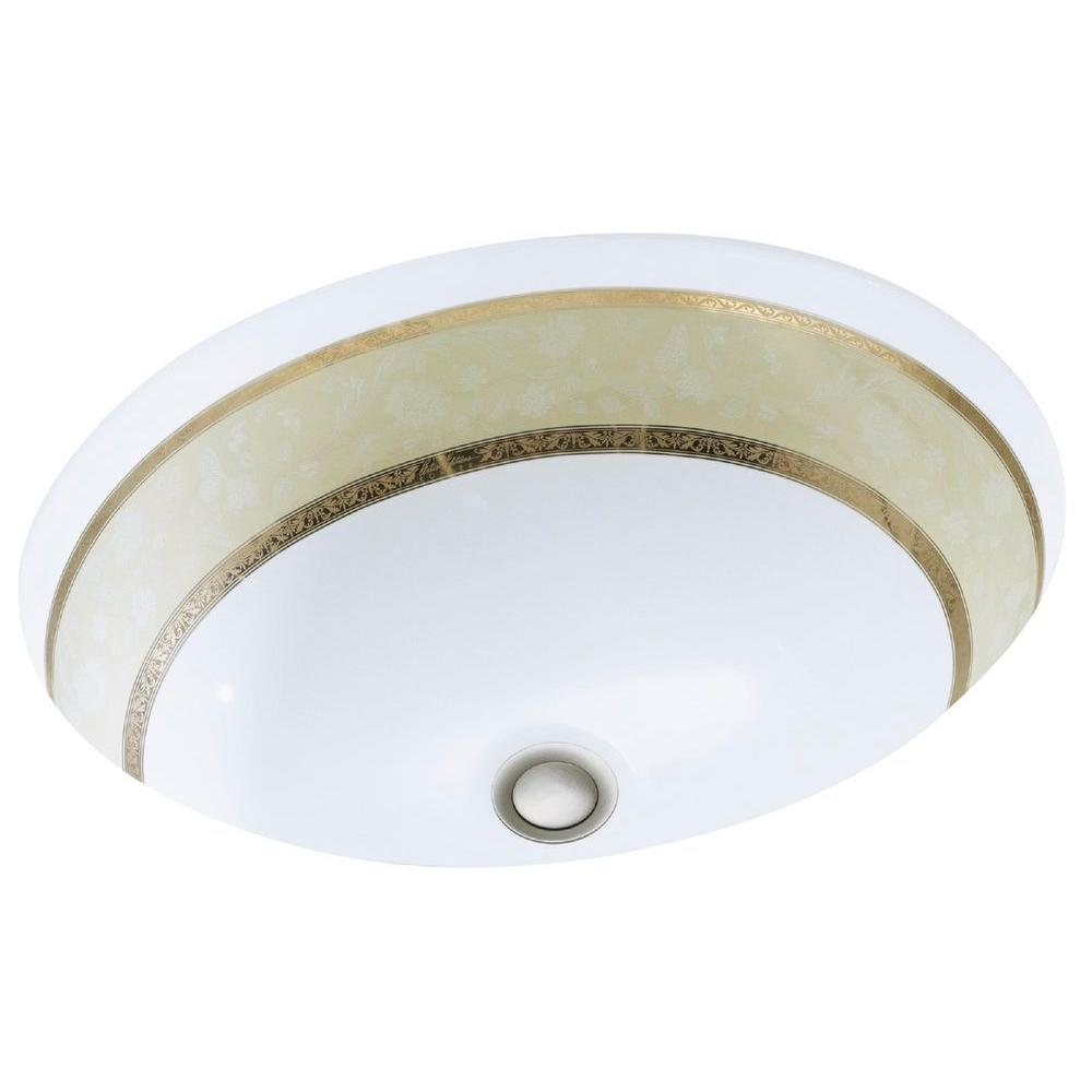kohler caxton vitreous china undermount bathroom sink in white with flight of fancy gold the home depot