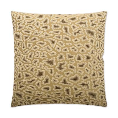Cabenet Oyster Geometric Down 24 in. x 24 in. Throw Pillow