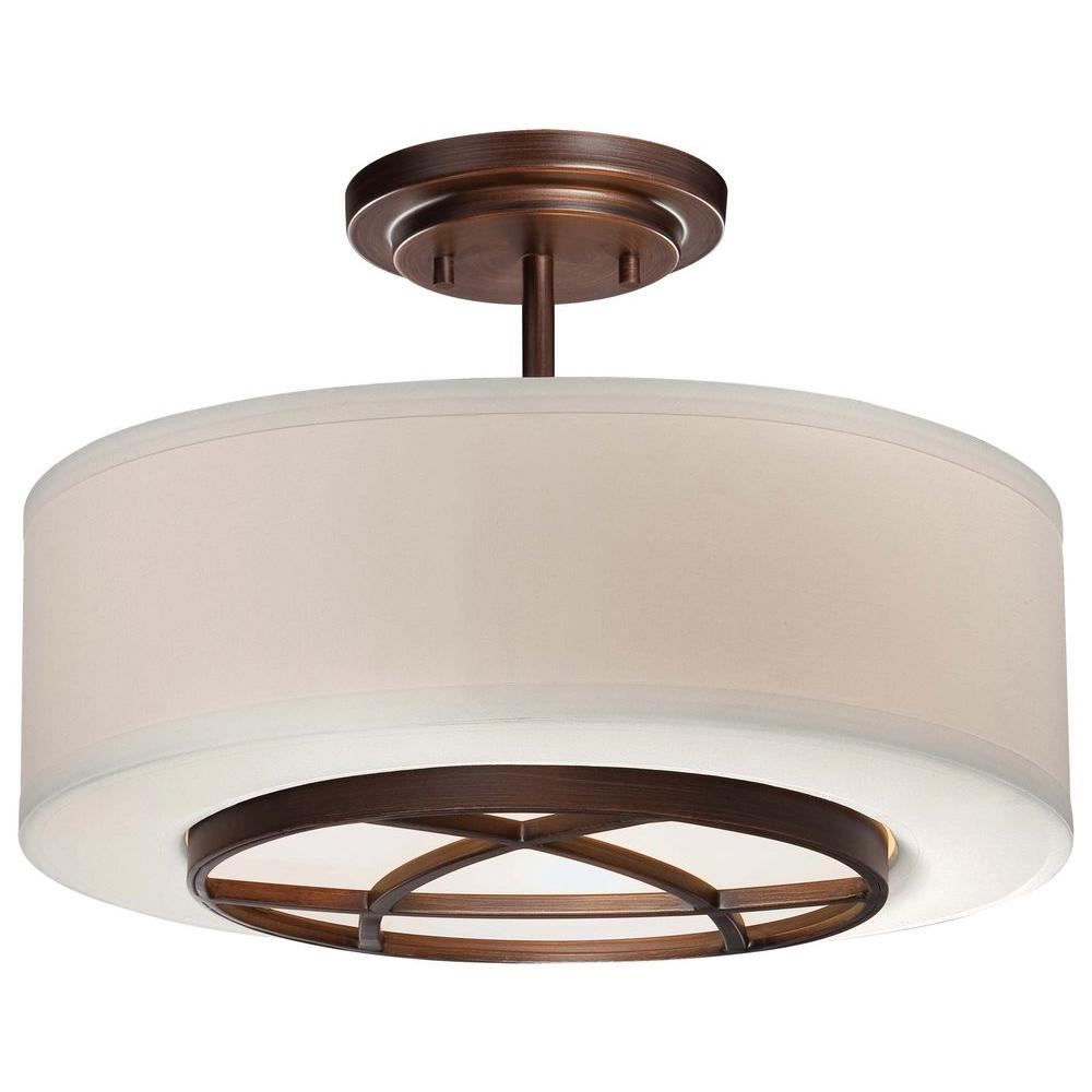 3 Light Dark Brushed Bronze Semi Flush