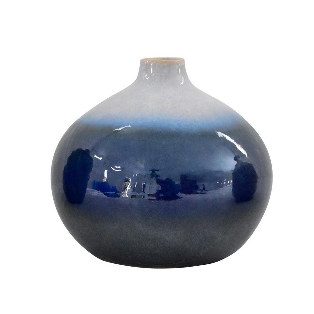 10 in. Blue Ceramic Decorative Vase