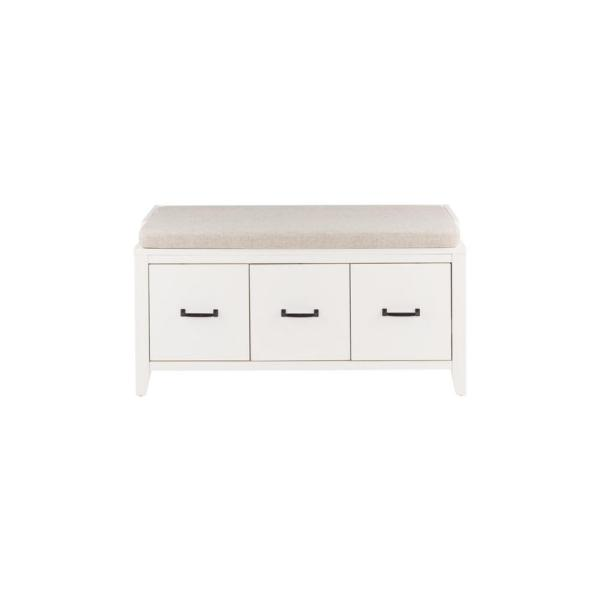 Home Decorators Collection Whitford White Wood Entryway Bench With Cushion And Concealed Storage 38 In W X 19 In H Sk19330ar1 W The Home Depot