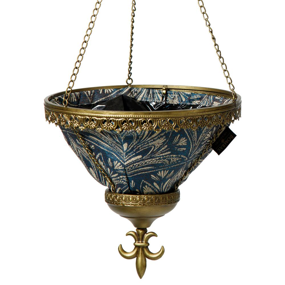 Gold Sofia Hanging Planter With Blue Liner