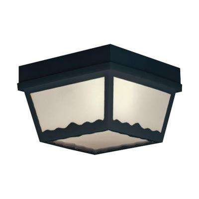 Black 1-Light Outdoor Flush Mount