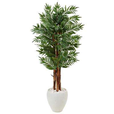 Indoor Parlor Palm Artificial Tree in White Oval Planter