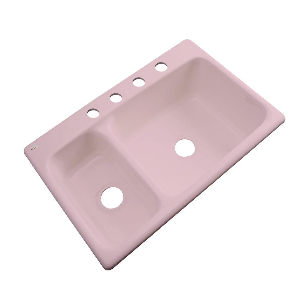 Thermocast Wyndham Drop-In Acrylic 33 in. 4-Hole Double Bowl Kitchen Sink in Dusty Rose