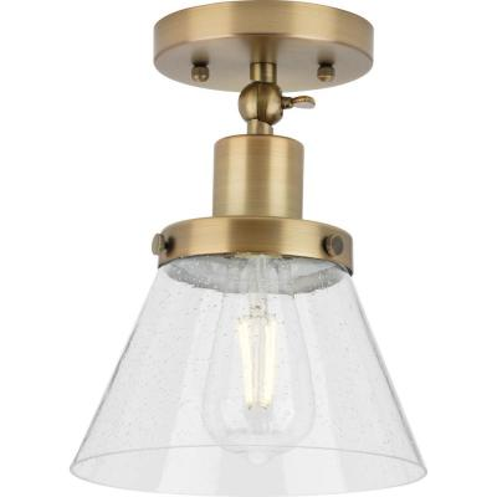 Progress Lighting Hinton 1-Light Vintage Brass Seeded Glass Industrial Flush Mount Ceiling Light