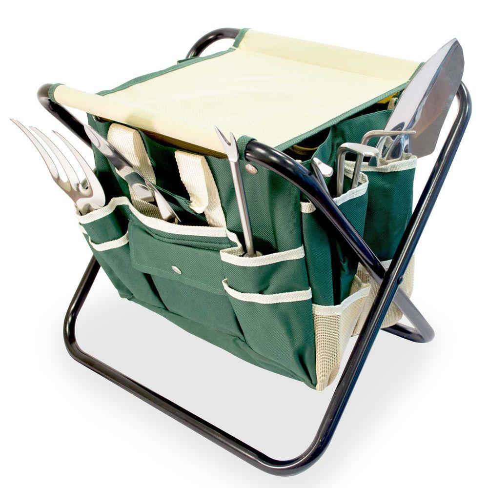 Remarkable Aspectek Gardenhome All In One Folding Stool With Tool Bag 5 Tools Uwap Interior Chair Design Uwaporg