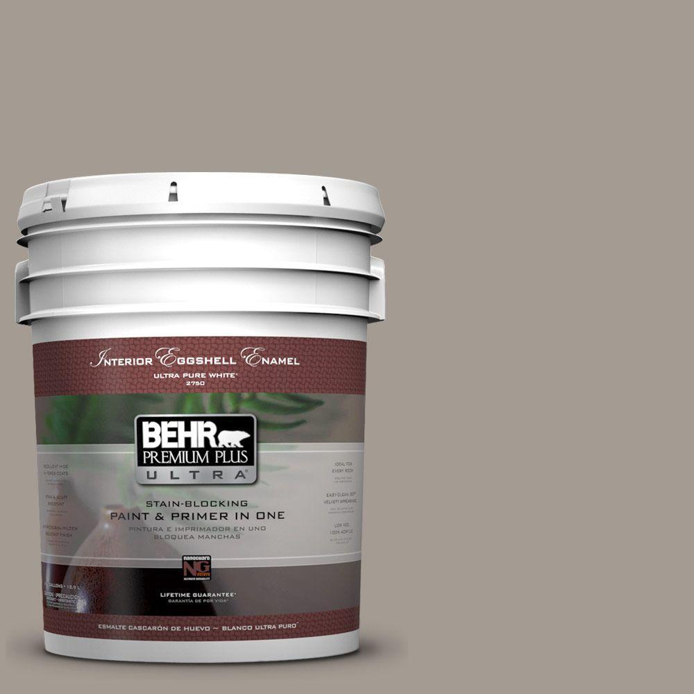 BEHR Premium Plus Ultra 5-gal. #BXC-54 River Pebble Eggshell Enamel Interior Paint
