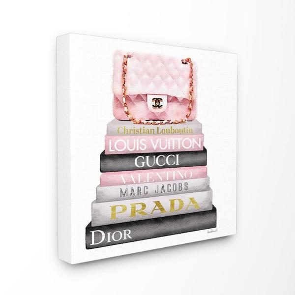 30 in. x 30 in. '' Watercolor High Fashion Bookstack Padded Pink Bag'' by Artist Amanda Greenwood Canvas Wall Art