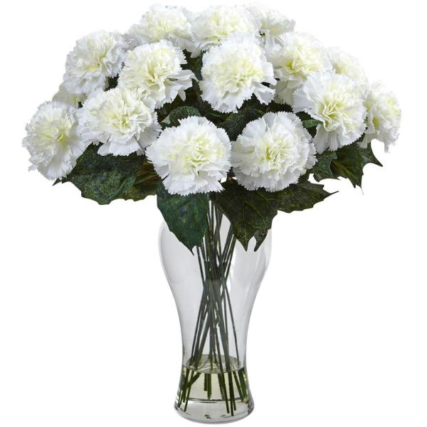 Nearly Natural Cream Carnation Arrangement with Vase