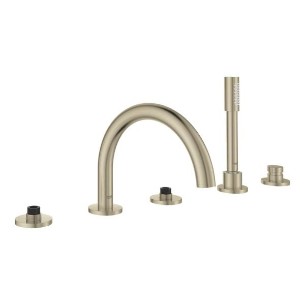Atrio 2-Handle Floor Mount Roman Tub Faucet with Hand Shower in Brushed Nickel