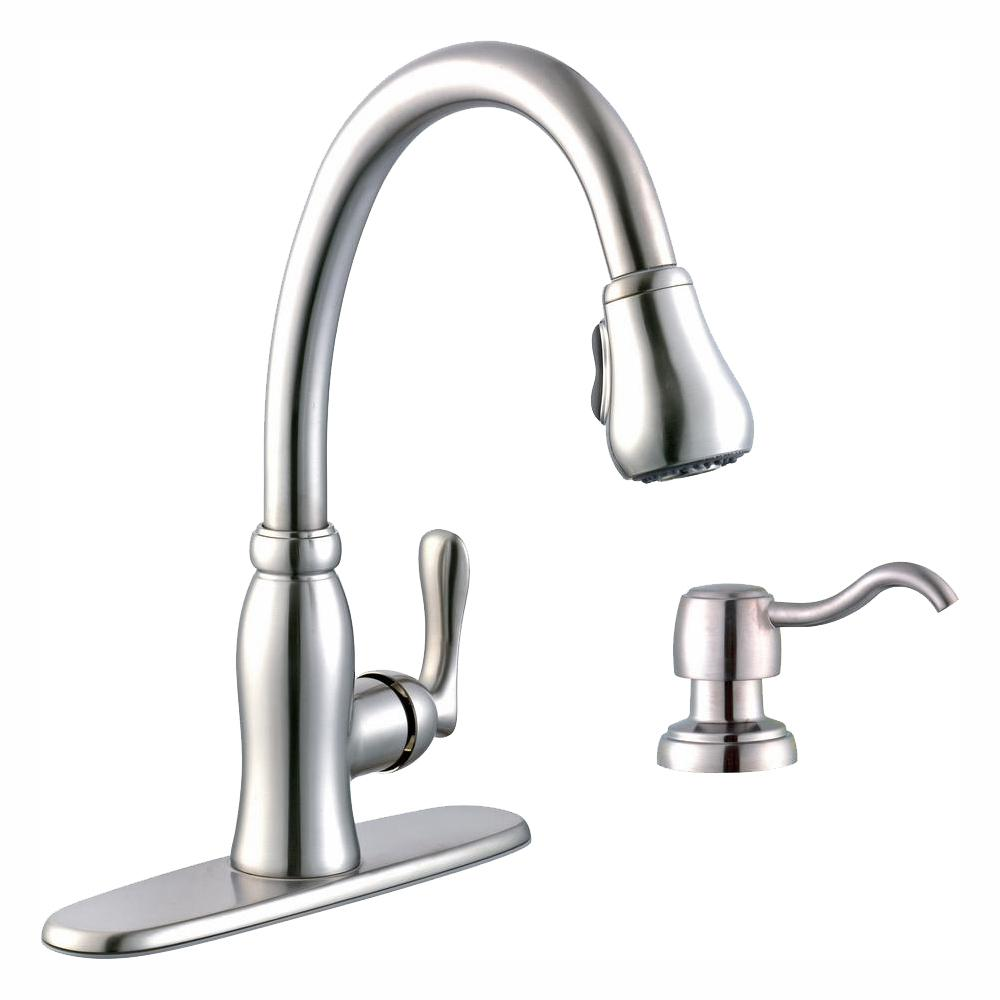 Glacier Bay Pavilion Single-Handle Pull-Down Kitchen Faucet with TurboSpray and FastMount and Soap Dispenser in Stainless Steel