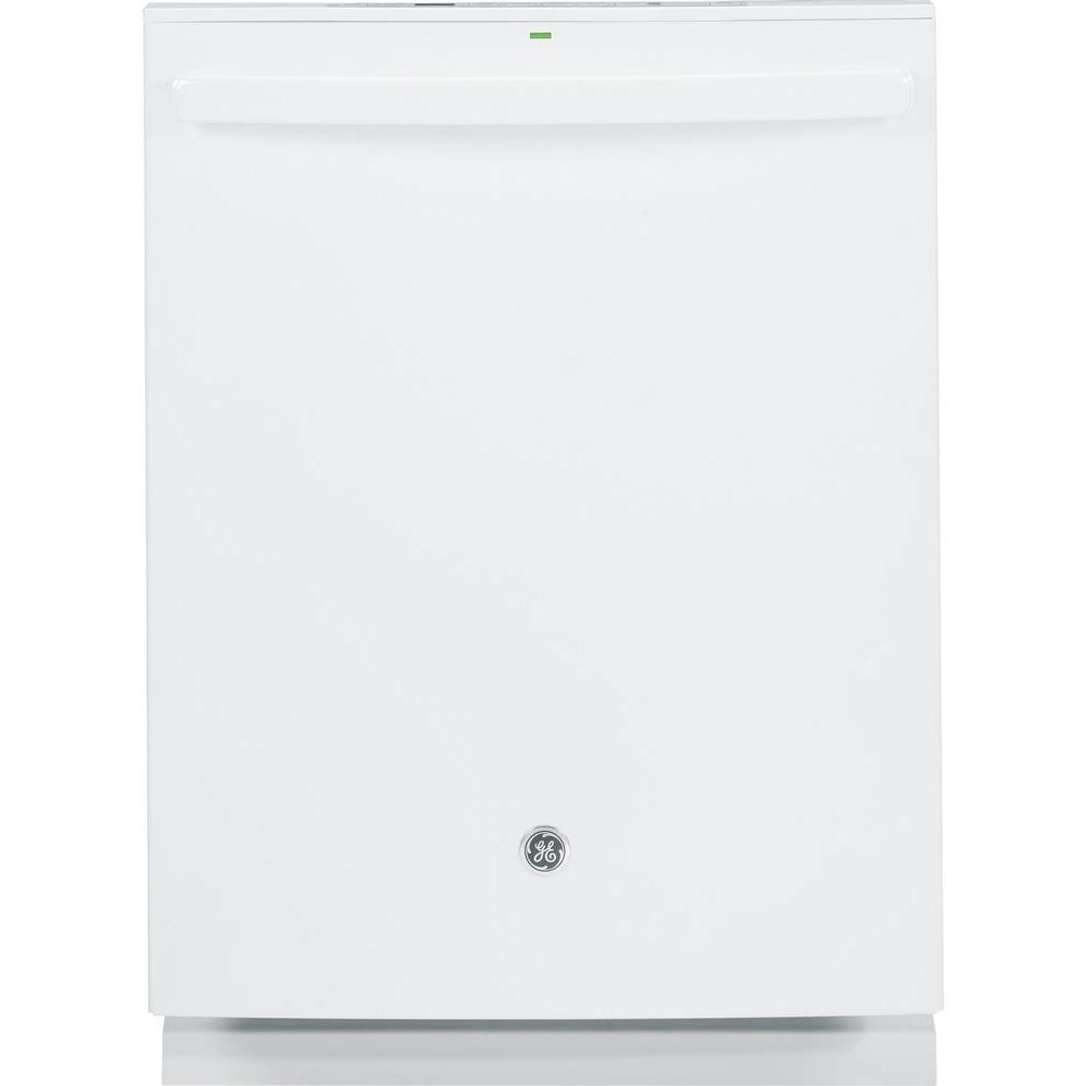 GE Top Control Dishwasher in White with Stainless Steel Tub and Steam PreWash