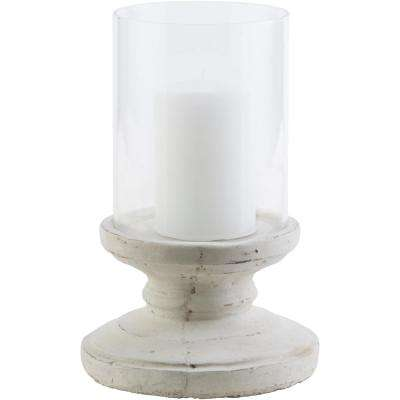 Tiberium 9.5 in. White Ceramic Candle Holder