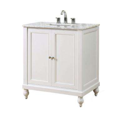 Classic 32 in. Vanity in Pearl White with Marble Vanity Top in White Carrara with White Basin