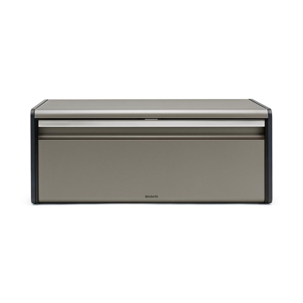 Fall Front Platinum (White) Bread Box A bread bin that doesn't take up extra space in your kitchen. Our Fall Front Bread Bin has a flat top, so you can store canisters etc. on top of it. Plus it keeps all your bread fresh because of its good closure: the Fall Front lid is fitted with a magnetic seal. Color: Platinum.