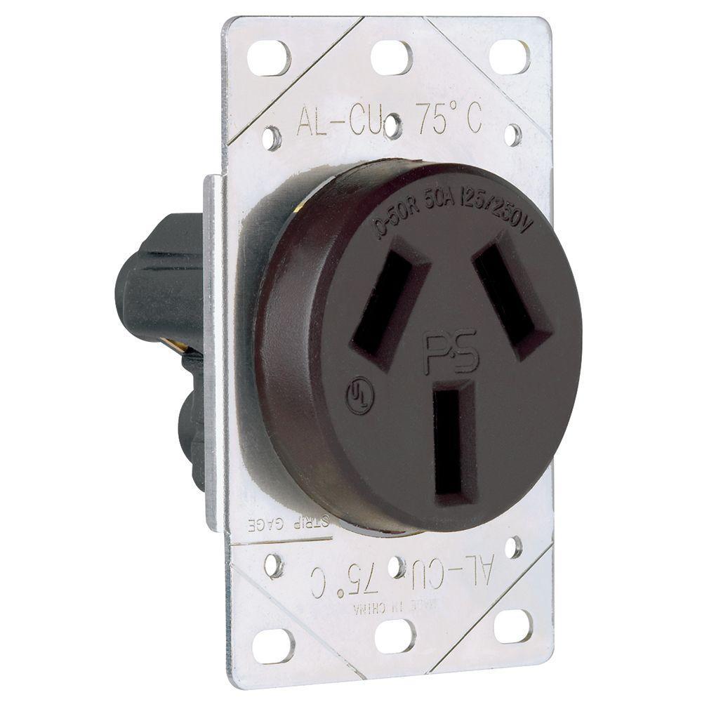 50 Amp 125/250-Volt NEMA 10-50R Flush Mount Power Outlet - Black