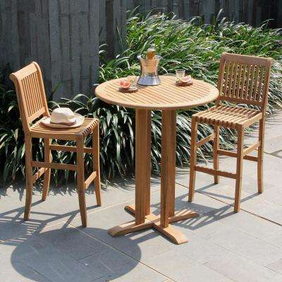 Heaton 3-Piece Teak Wood Bar Height Outdoor Dining Set
