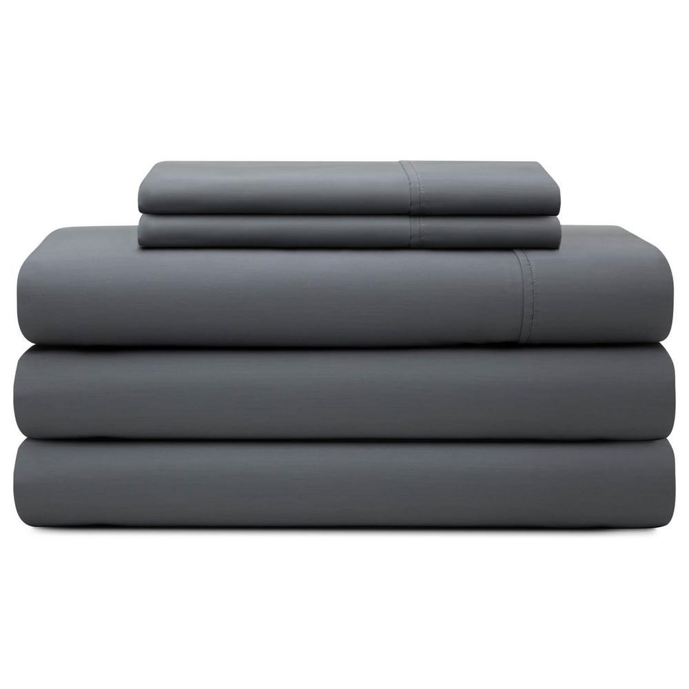 5-Piece Slate Cotton Blend Split Queen Sheet Set