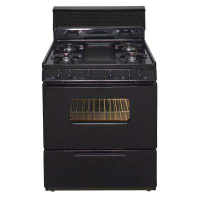 30 in. 3.91 cu ft. Battery Spark Ignition Gas Range in Black