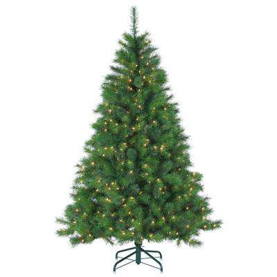 6.5 ft. Pre-Lit Mixed Needle Wisconsin Spruce Artificial Christmas Tree with Clear Lights