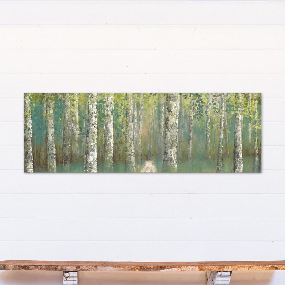 20 in. x 60 in. Green Birch Trees Landscape Printed Canvas