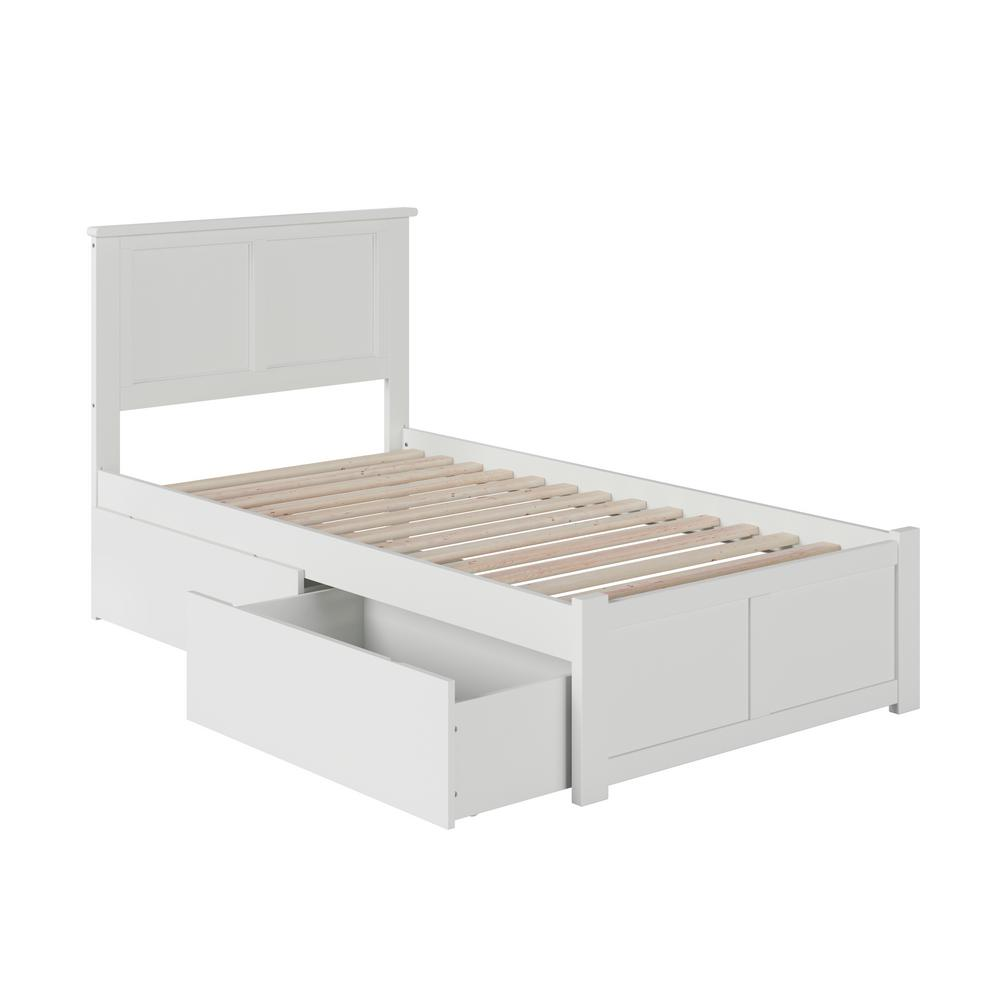 Madison White Twin Platform Bed with Flat Panel Foot Board and 2 Urban Bed Drawers