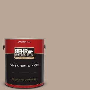 Behr Premium Plus 1 Gal Bxc 43 Desert Sandstorm Flat Exterior Paint And Primer In One 440001 The Home Depot