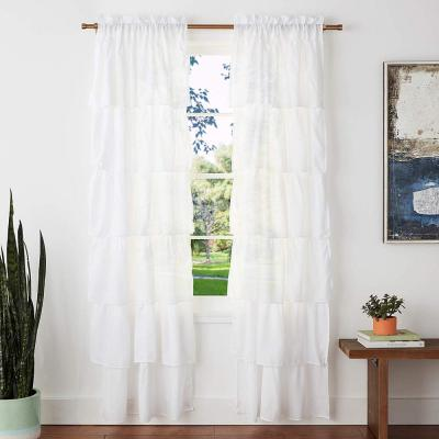 """Layers of Ruffles Pleated Rod Pocket with Header Curtain Panel Pair Set of 2, 38"""" x 84"""" Each(Total 76""""x84""""), Crisp White"""