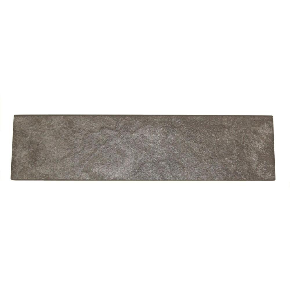 Daltile Continental Slate English Gray 3 in. x 12 in. Porcelain Bullnose Floor and Wall Tile