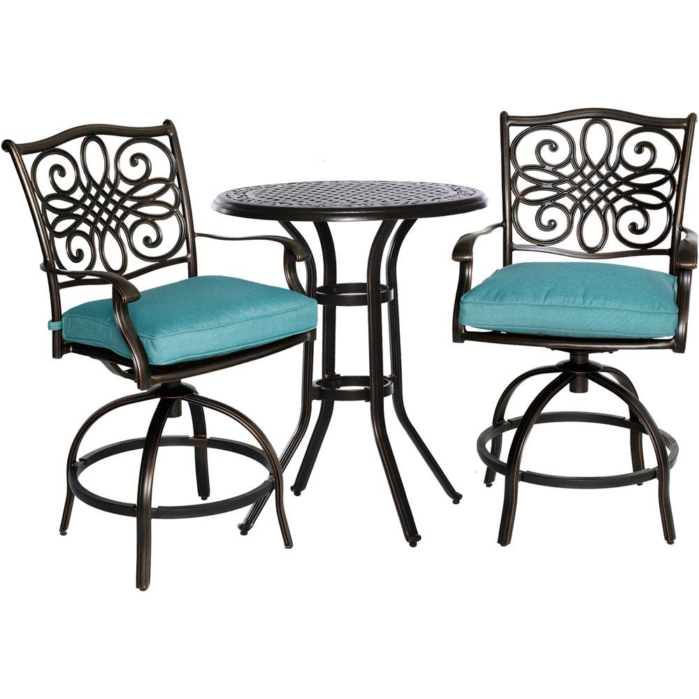 Great Cambridge Seasons 3 Piece Patio High Dining Bar Set With Blue Cushions