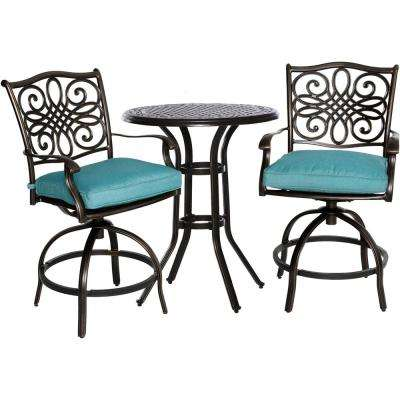 Seasons 3-Piece Patio High-Dining Bar Set with Blue Cushions