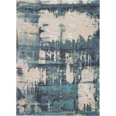 Abstract Shag 5' x 7' Blue and White Colorful Area Rug