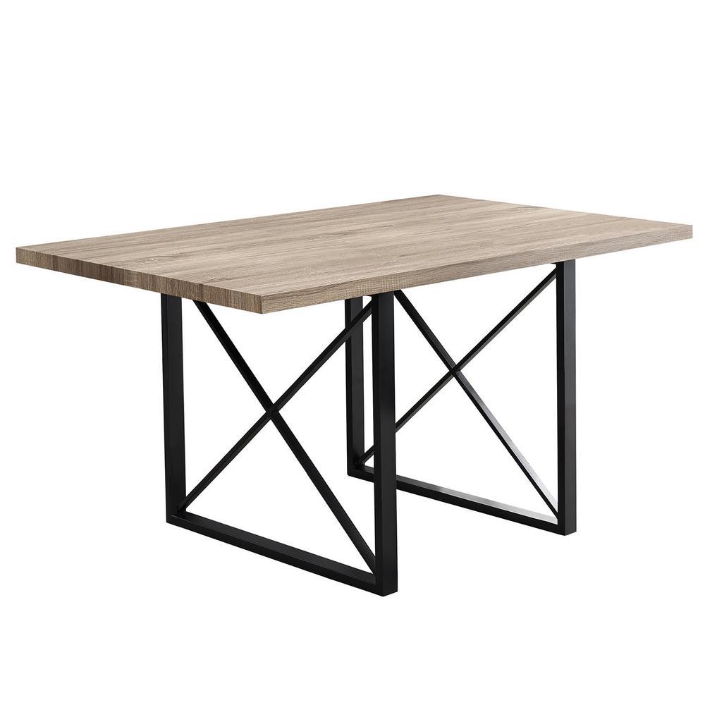 Jasmine Dark Taupe, Black Metal/Wood Dining Table for (Seats of 4)