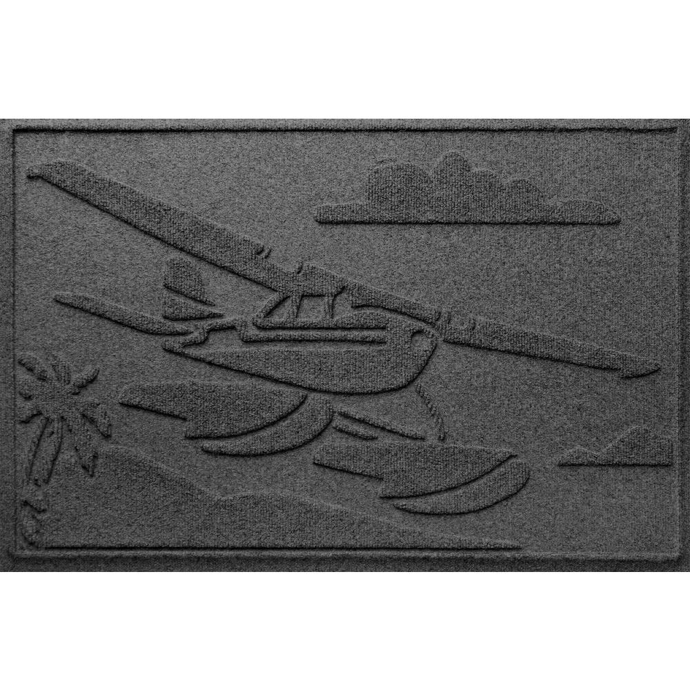 Charcoal 24 in. x 36 in. Sea Plane Polypropylene Door Mat