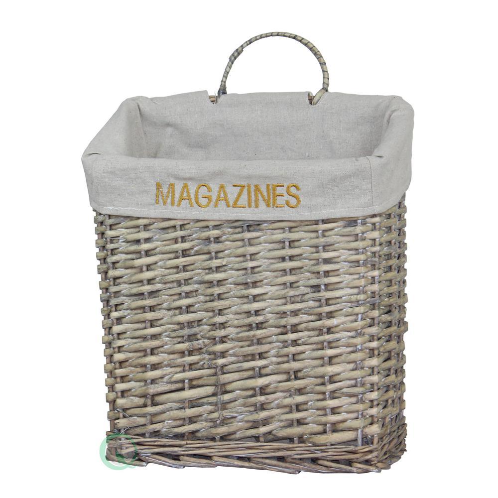 """Vintiquewise 12.4"""" W x 14"""" H x 5.25"""" Wicker Vintage Magazine Basket"""
