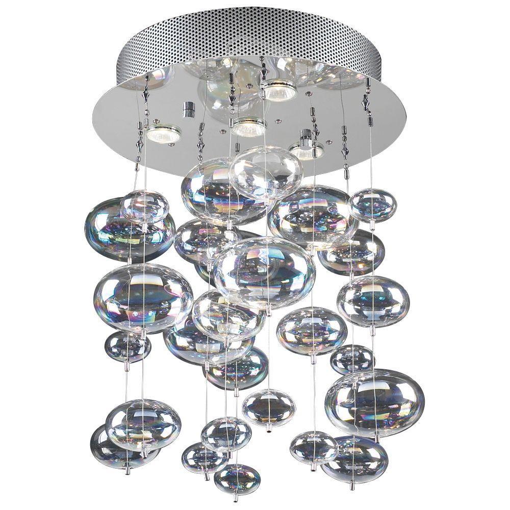 4-Light Polished Chrome Pendant with Iridescent Glass Shade