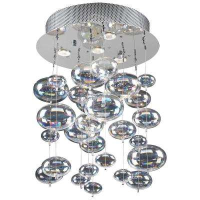 4-Light Polished Chrome Pendant with Iridescent Glass Shade