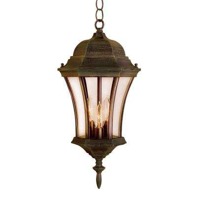 Cabernet Collection 3-Light Hanging Outdoor Rust Lantern with Clear Curved Shade