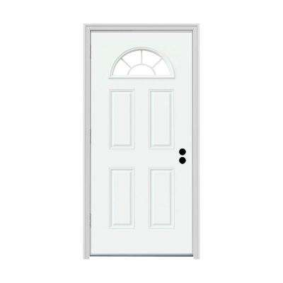 30 in. x 80 in. Fan Lite White Painted Steel Prehung Right-Hand Outswing Front Door w/Brickmould