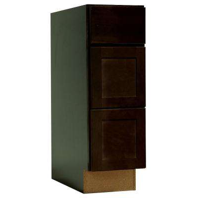 Shaker Assembled 12x34.5x21 in. Bathroom Vanity Drawer Base Cabinet with Ball-Bearing Drawer Glides in Java