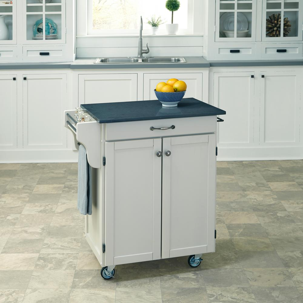Cuisine Cart Black Kitchen Cart With Quartz Top