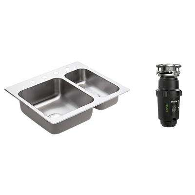 2000 Series Drop-in Stainless Steel 25.5 in. 4-Hole Double Basin Kitchen Sink with GX Pro Series 1/2 HP Garbage Disposal