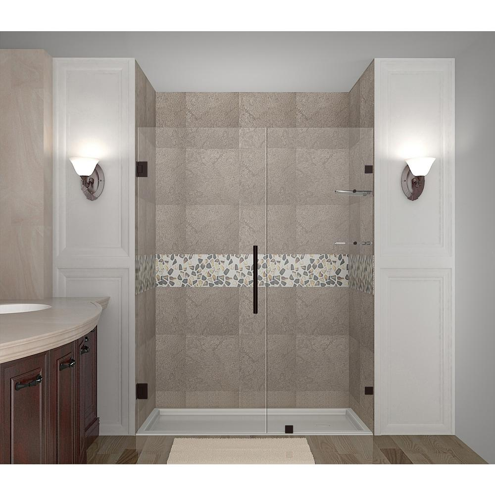 Aston Nautis Gs 69 25 In 70 25 In X 72 In Frameless Hinged Shower Door With Glass Shelves In Bronze Sdr990 Nbr 70 10 The Home Depot