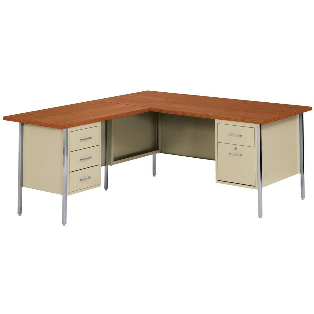 Sandusky 30 in. H x 60 in. W x 30 in. D 500 Series L-Shaped Steel Desk in Putty/Medium Oak