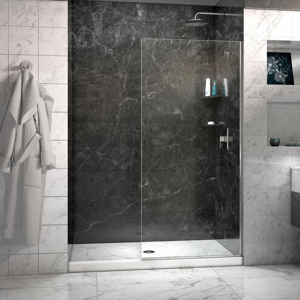 semiframed fixed shower door in chrome